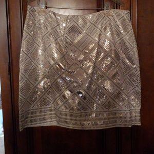 White House/Black Market Gold Sequin Mini Skirt